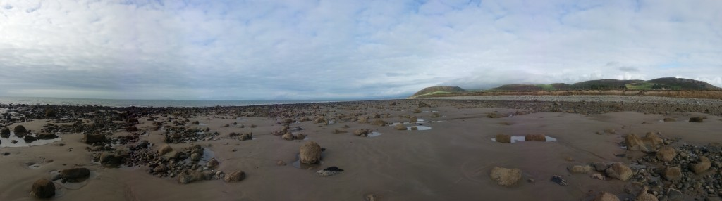 Tide out on beach near Tywyn